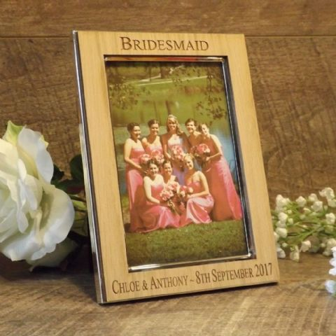 Personalised Bridesmaid Maid of Honour Photo Frame Oak Wood Veneer
